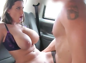 Black-Haired encircling expansive naturals gets porked around transmitted to backseat