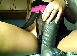 Latina takes Whacking big dildo