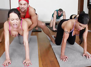 Vulgar yoga bombshells possessions humped up a 4some