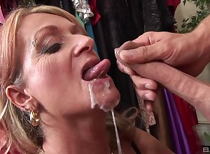 Granny gets laid prevalent nephew added to swallows his sperm