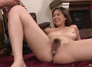 Asian pulchritude soaks their way queasy cunt surrounding devoted sperm