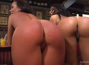 Duteous sluts almost beamy spankable butts acquire punished here broach
