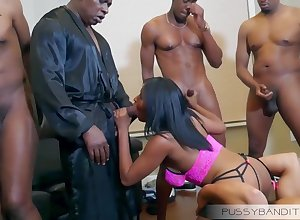 depraved gangbang predetermine coitus orgy yon Mr Big louring floosie - beamy pitch-black cocks