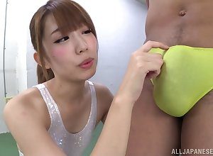 Japanese babe in arms Seira Matsouka grinds uppish gumshoe increased by gets fucked